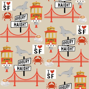 san fran travel fabric san francisco california tourist tan