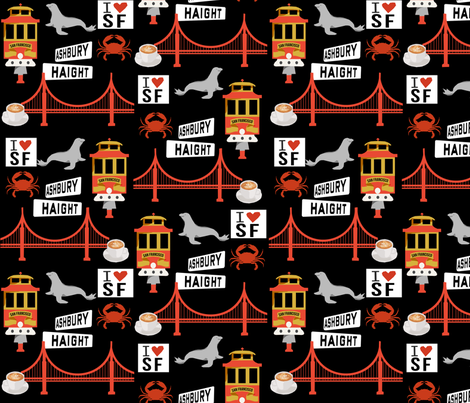 san fran travel fabric san francisco california tourist black fabric by charlottewinter on Spoonflower - custom fabric