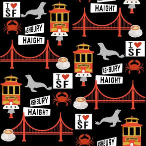 san fran travel fabric san francisco california tourist black