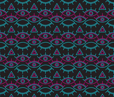 Neon Evil Eye fabric by musingtreedesigns on Spoonflower - custom fabric