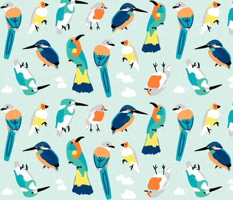 Fly Baby Fly - Bird Lineup fabric by sweeterthanhoney on Spoonflower - custom fabric