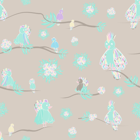 birds grey fabric by arrpdesign on Spoonflower - custom fabric