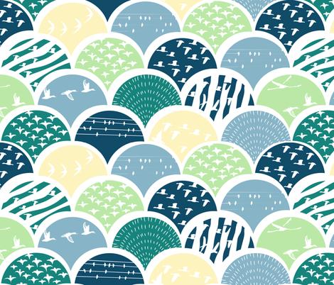 Scalloped birds fabric by kurull on Spoonflower - custom fabric