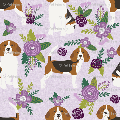 beagle (smaller scale) pet quilt c dog breed fabric coordinate floral