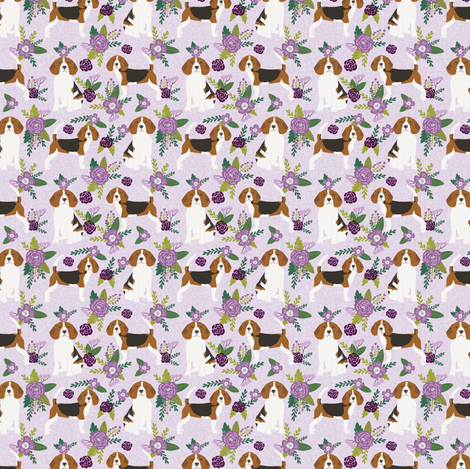 beagle (smaller scale) pet quilt c dog breed fabric coordinate floral fabric by petfriendly on Spoonflower - custom fabric