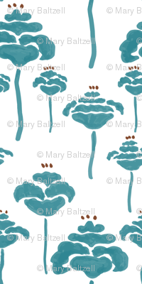 Field of poppies teal