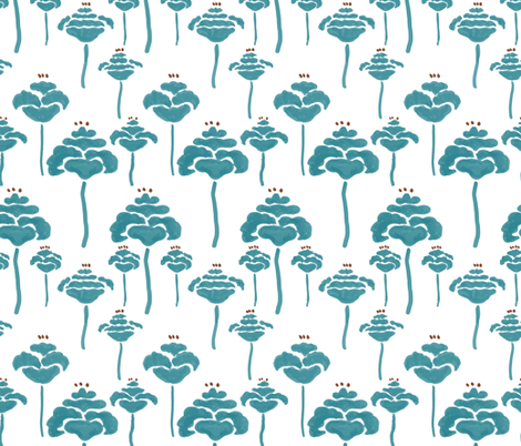 Field of poppies teal fabric by fat_bird_designs on Spoonflower - custom fabric