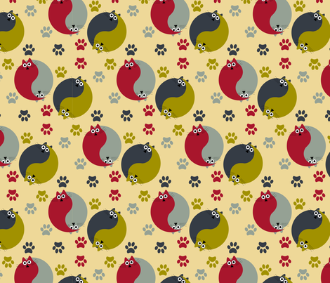 Yin yang cats-01 fabric by sissi-tagg on Spoonflower - custom fabric