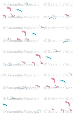 lift off//birds taking off, pretty coloured bird design fabric