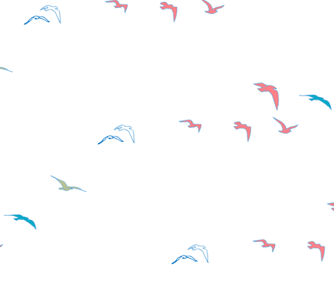 lift off//birds taking off, pretty coloured bird design fabric fabric by samantha_woodford on Spoonflower - custom fabric