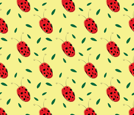 Lucky Ladybug-01 fabric by orangepoppydesigns on Spoonflower - custom fabric