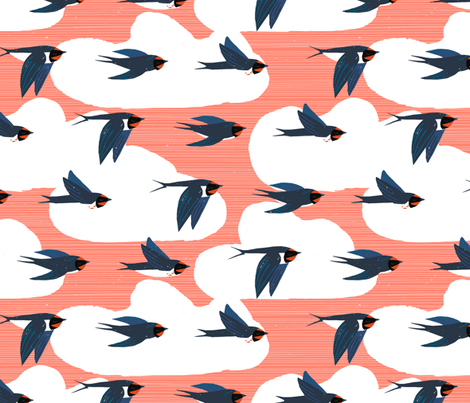 Migration Patterns M+M Coral by Friztin fabric by friztin on Spoonflower - custom fabric