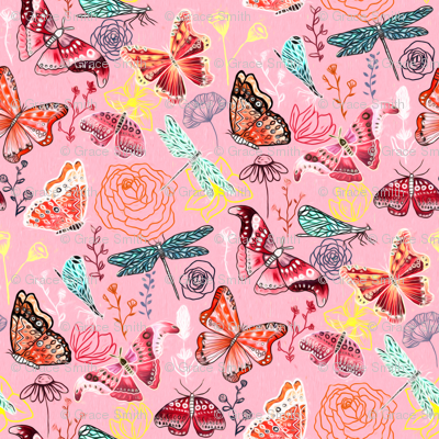 Dragonflies, Butterflies And Moths On Blush With Teal And Coral - Big