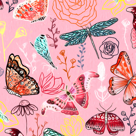 Dragonflies, Butterflies And Moths On Blush With Teal And Coral - Big fabric by tigatiga on Spoonflower - custom fabric