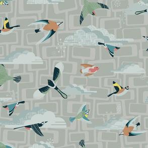 Mid Century Garden Birds Grey