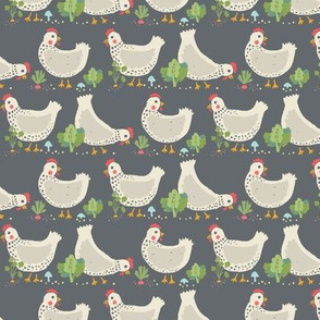 Hens in the Veggie Garden