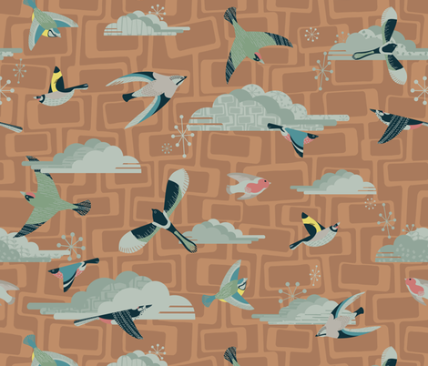 Mid Century Garden Birds Orange fabric by harrietharkerdesigns on Spoonflower - custom fabric