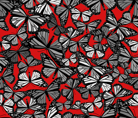 Grey Butterflies on Red fabric by artsytoocreations on Spoonflower - custom fabric