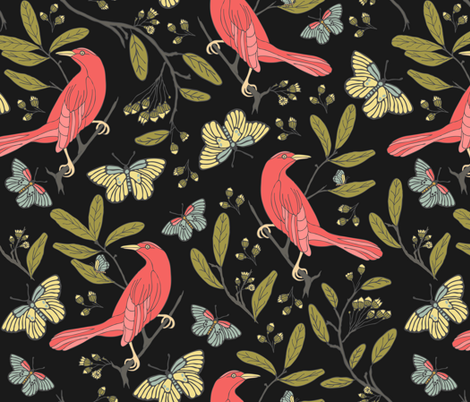 Bird and Butterfly - Black fabric by fernlesliestudio on Spoonflower - custom fabric