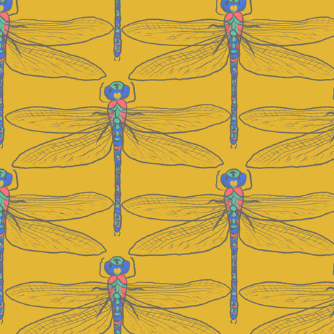 Dragonflies for Swallows (gold) fabric by helenpdesigns on Spoonflower - custom fabric