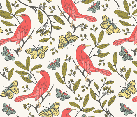 Bird & Butterflies - H White fabric by fernlesliestudio on Spoonflower - custom fabric