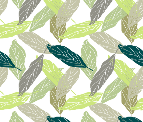 Spring leaves  fabric by fat_bird_designs on Spoonflower - custom fabric