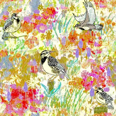 Meadowlarks in meadow, Large