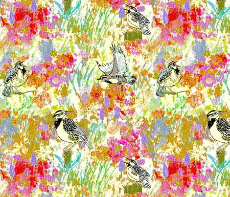 Meadowlarks in meadow, Large fabric by palifino on Spoonflower - custom fabric