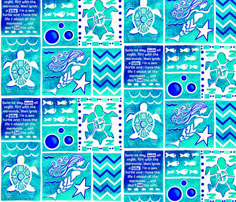 Sea Turtle Day Dream-blue-green fabric by franbail on Spoonflower - custom fabric