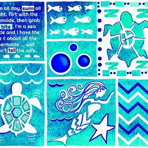 Sea Turtle Day Dream-blue-green