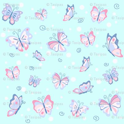 Butterflies in the pale blue sky
