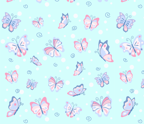 Butterflies in the pale blue sky fabric by tasipas on Spoonflower - custom fabric