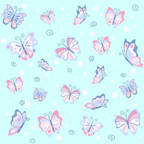 Butterflies in the pale blue sky