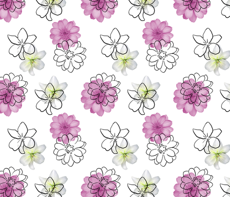 white, pink and black flowers fabric by monique_design on Spoonflower - custom fabric