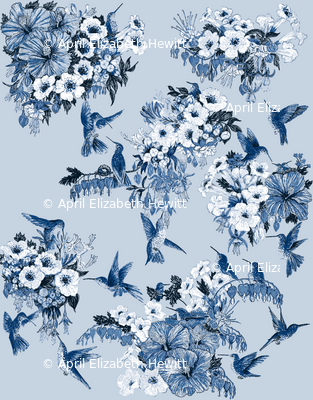 Humming Bird Delft Vibe Navy on Blue