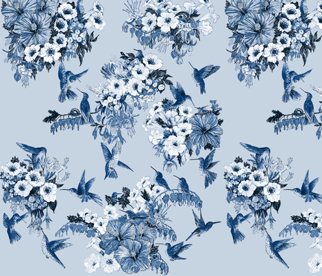 Humming Bird Delft Vibe Navy on Blue fabric by azureelizabethdesign on Spoonflower - custom fabric