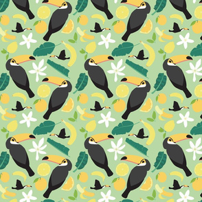 Tropical Toucans Light Green