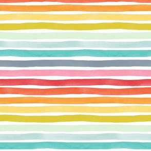 Watercolor Stripes M+M Rainbow by Friztin