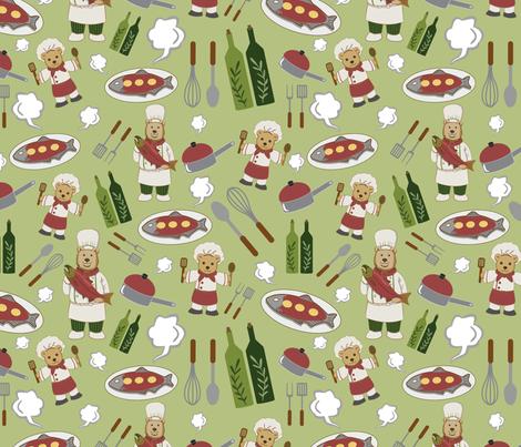 Alaskan Culinary Artists Green fabric by ksharpstudio on Spoonflower - custom fabric