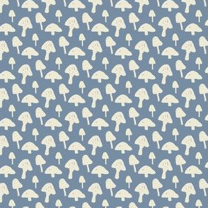 Mushrooms on Blue-Gray