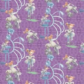 Miniature Rolling Along On Violet Purple