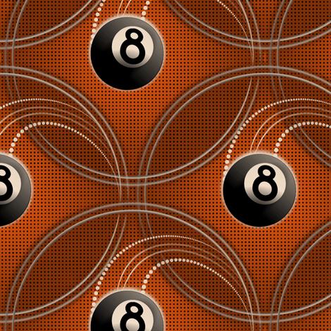 ★ MAGIC EIGHT BALL ★ Orange - Large Scale / Collection : 8 Balls - Billiard & Rock 'n' Roll Old School Tattoo Print fabric by borderlines on Spoonflower - custom fabric