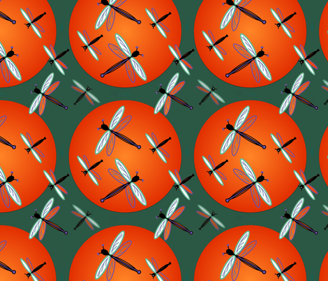 Dragonflies Orange and Bright fabric by chovy on Spoonflower - custom fabric