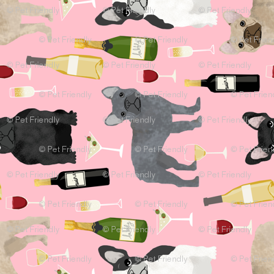 frenchie (RR) wine fabric - french bulldog and drinks fabric - pink