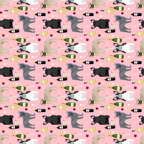 frenchie (RR) wine fabric - french bulldog and drinks fabric - pink fabric by petfriendly on Spoonflower - custom fabric