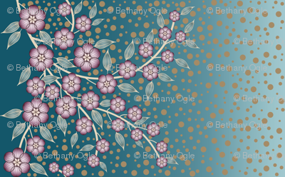 Large Floral Border of Plum and Teal Flowers