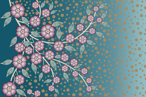 Large Floral Border of Plum and Teal Flowers fabric by amborela on Spoonflower - custom fabric