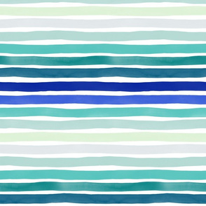Watercolor Stripes M+M Blues Hues by Friztin