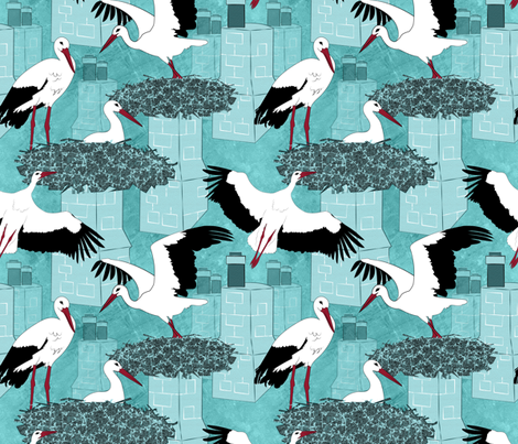 Storks fabric by vannina on Spoonflower - custom fabric