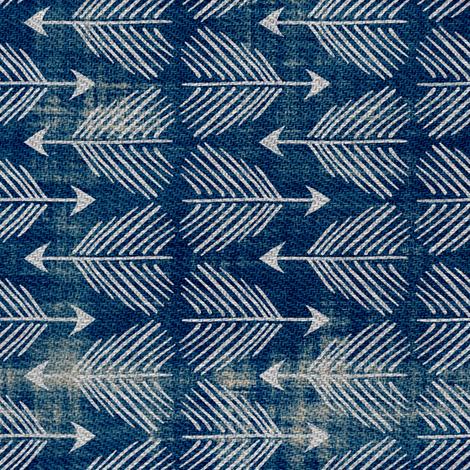 Django Arrows (indigo) railroad fabric by nouveau_bohemian on Spoonflower - custom fabric